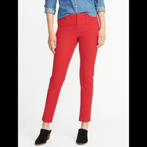 old navy womens 16 red pixie pants mid rise cotton